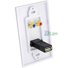 USB 2.0 Port 2RCA Phono Audio AV Wall Socket Receptacle Outlet Face Plate Panel