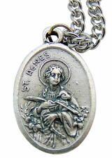 """St. Agnes Patron Saint Metal 3/4"""" Italy Medal w/ Chain Pendant Necklace"""