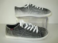 Roxy ROCKIE LOW Gray Acid Distressed Canvas Shoes Graphic Print Innersole Size 9