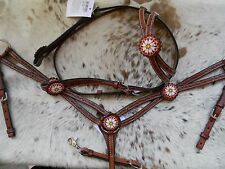 Beaded Medium Oil Leather Western Horse Headstall & Breast Collar Set NEW