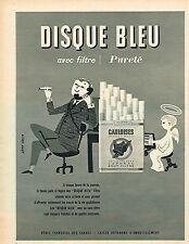 PUBLICITE ADVERTISING 025  1957  GAULOISES DISQUE BLEU cigarettes par JEAN COLIN