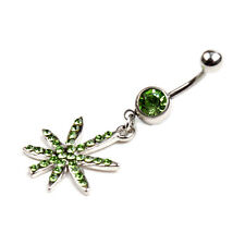 1pc Leaf Piercing Navel Belly Button Ring Women Body Jewelry Sexy Art Dangle