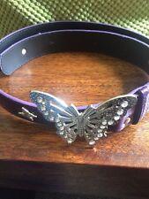 Nuevo Cinturón De Hebilla De Mariposa Púrpura