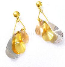 Damen Big Girl Blatt Orientalisch Kronleuchter Ohrringe 24K Gelb & Weiß