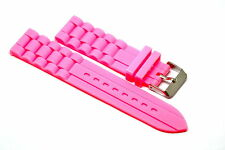 22MM NEON PINK SILICONE RUBBER WATCH BAND STRAP FITS FOSSIL TRAVELER