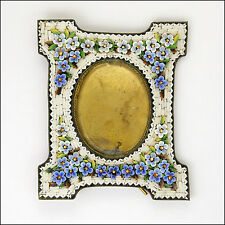 Antique Italian Forgetmenot Micro-Mosaic Standing Frame