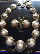 Vintage YVES SAINT LAURENT YSL Pearl Choker Necklace & Matching Earrings in Box