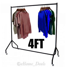 4ft Garments Clothes Display Metal Rail Wheel Rack Hanging Storage Heavy Duty UK