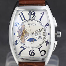 Automatic Moon Phase Dial Fashion Mens Skeleton Mechanical Wrist Watch Leather