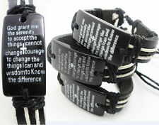 10pcs NEW Serenity prayer Cross Leather Bracelets Wholesale Fashion Jewelry Lot
