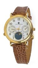 A3 NEW Beautiful WOMEN'S JB CHAMPION Moon Phase Gold Dress Leather Band WATCH in