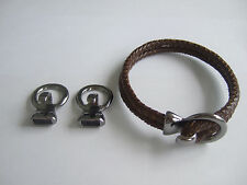 5 Gun Black Open Hook All in One Clasp Bracelet Findings For 5mm Round Leather