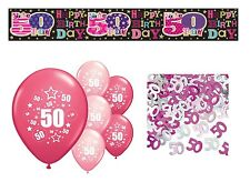 50TH  BIRTHDAY PARTY PACK DECORATIONS BANNER BALLOONS  CONFETTI (SE.P.3)