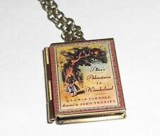 Alice in Wonderland Book Charm LOCKET Necklace Alice's Adventures in Wonderland
