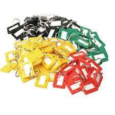 100Pcs Keychain Key Tags ID Label Name Card Key Tags Split Ring Assorted Color