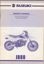 2001 SUZUKI MOTORCYCLE JR80 OWNERS MANUAL P/N 99011-03460-03A (101)