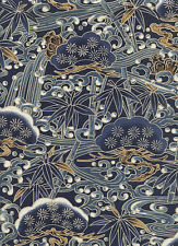 PINE BOUGHS & BAMBOO: Blue Asian Japanese Quilt Fabric - (By the Half Yard)