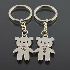 2PCS Romantic Couple Keychain Keyring Keyfob Lover Gift Lovely Bear Key Set ZXX