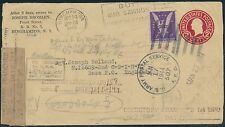 """3¢ """"WIN THE WAR"""" ON COVER TO ENGLAND 1943-1944 OPENED BY MISTAKE BS124"""