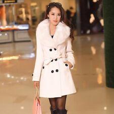 Women's Winter Warm Coat Long Wool Jacket Fur Collar Slim Outwear Trench coat