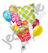 7 pc Happy Birthday Bright Flower Pot Balloon Bouquet Party Decoration Spring