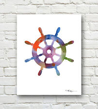 SHIPS WHEEL Contemporary Watercolor Children's Room ART Print by Artist DJR