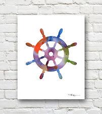 SHIPS WHEEL Contemporary Watercolor Children's Room ART Print by Artist DJR