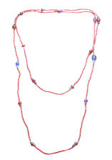 Exuberant & Vibrant Lipstick Red Bead & MultiColour Stone & Long Necklace(Zx93)