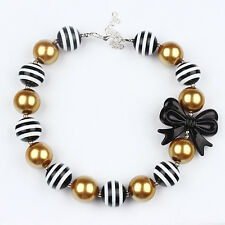 Charm Christmas Chunky beads Bubblegum Gumball With Black Bow Necklace Jewelry