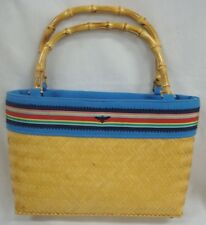 BUZZ BAG BY JANE FOX BAMBOO HANDLES WOVEN STRAW BODY FULLY LINED GOLD TONE FEET