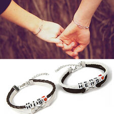 For Valentine's Day Gift Couples Bracelets His and Hers Charm Leather Bracelet