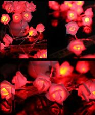 Romantic 20 LED Rose Flower Fairy String Lights Wedding Dating Party Room Decor