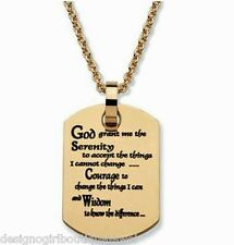 Serenity Prayer Dog Tag Necklace Ion Gold Pendant Stainless Steel AA Recovery
