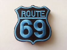 CLASSIC AMERICAN HIGHWAY ROAD SIGN SEW / IRON ON PATCH:- ROUTE 69 SKY BLUE BLACK