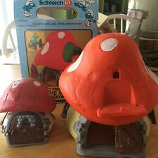 VINTAGE 1978 PEYO SCHLEICH SMURF MUSHROOM HOUSE LARGE & SMALL Box Incomplete