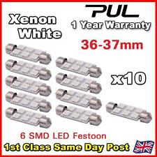 10x 36MM 37MM NUMBER PLATE INTERIOR LIGHT FESTOON BULB 6 LED WHITE 239 c5w