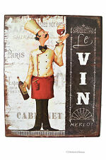 "Vintage Wine & Fat French Chef Bistro 10"" Metal Wall Sign Plaque Decor"