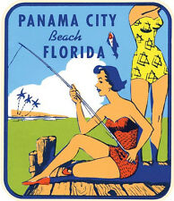 Panama City Beach, Florida Pin-Up Gals Vintage-1950's Style Travel Decal Sticker
