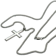 "Plain Cross Sterling Silver Pendant Necklace for Men 24"" Chain Polished Made USA"