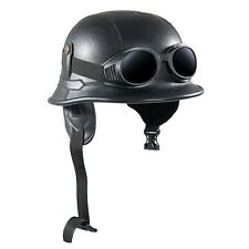 Vintage Motorcycle Helmets With Goggles Motor Bike Half Retro Helmet Black Color