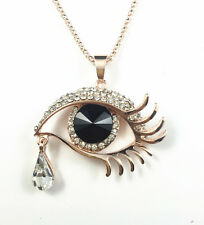 Rose Gold Plated Black Glass Evil Eye Crystal Pendant Sweater Chain Necklace