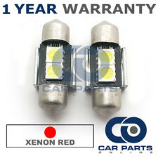 2X RED CANBUS NUMBER PLATE INTERIOR 2 SUPER BRIGHT SMD LED BULBS 30MM 06RX2