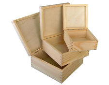 3 in 1 PLAIN WOOD - WOODEN STORAGE BOX JEWELLERY 3 in 1