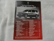 2006 Pontiac Montana SV6 Quick Reference Guide Owners Manual SUPPLEMENT