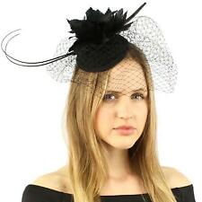 Fancy Quill Swirl Wool Veil Feathers Headband Fascinator Cocktail Hat Cap Black