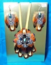 Feathered Earrings & Leather Necklace Set Pheasant Feathers & Turquoise FNE05