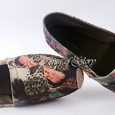Valentino Butterfly Print Slip On Canvas Leather Espadrilles Shoes Size 38 5 US8