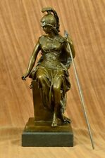 Grecian Goddess Athena Elegant Female War Classical Bronze Marble Statue Artwork
