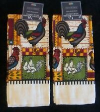 "Country Rooster Hen Floral Set of 2 Kitchen Decor Towels 15""x25"" RARE"