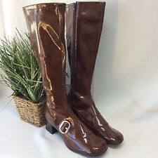 Vintage 1960s Brown Calf MOD Retro Boots Shiny Go Go Tall New unworn